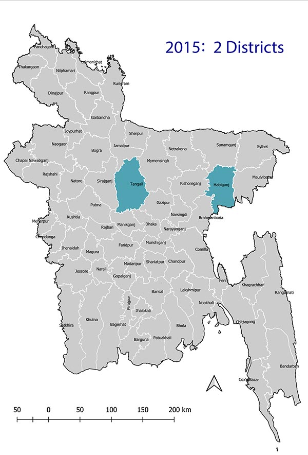 Map of eMIS districts in 2015