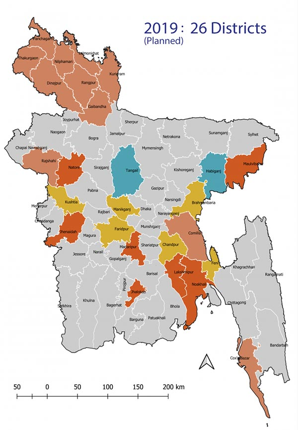 Map of eMIS districts in 2019 (planned)