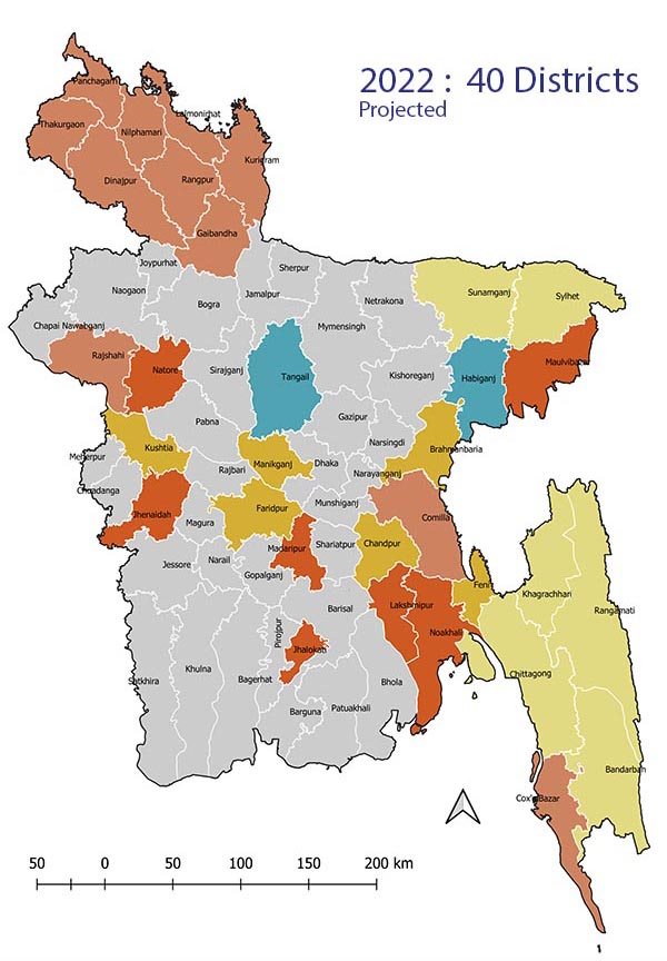 Map of eMIS districts in 2022 (projected)